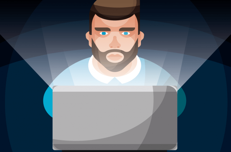 Image of an animated man using his laptop and staring at his screen at night.